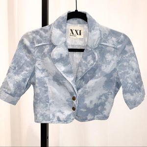 SALE 💚 Tie Dye Jeans Jacket Crop Top